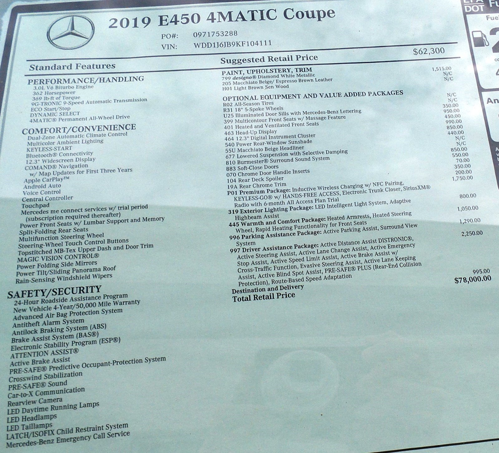 New 2019 Mercedes-Benz E-Class E 450 4MATIC® COUPE In